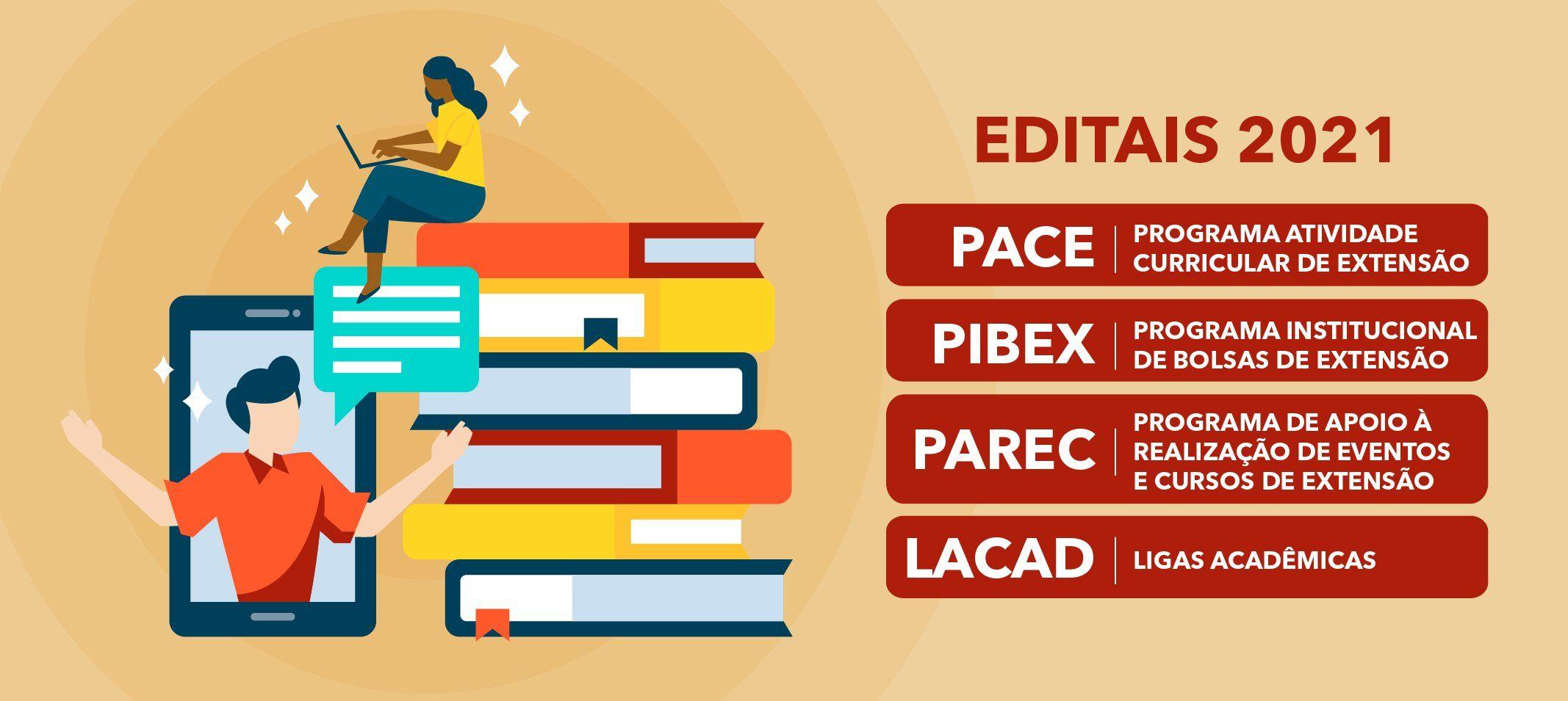 Proext publica editais 2021 de Pace, Pibex, Parec e Lacad